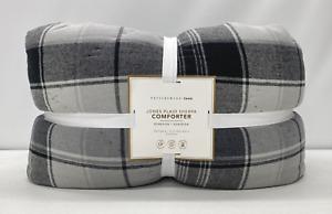 NEW Pottery Barn TEEN Jones Plaid Sherpa FULL/QUEEN Comforter~Dark Charcoal Gray