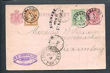 "Suriname 1897, cijfer 17+19 bijgefr. briefkaart ""OVER St.NAZAIRE"" > LUXEMBURG"