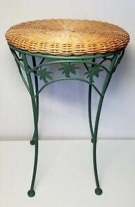 Wicker & Iron 4 Legged Bathroom Vanity Stool, Palm Tree Theme, Never Used!
