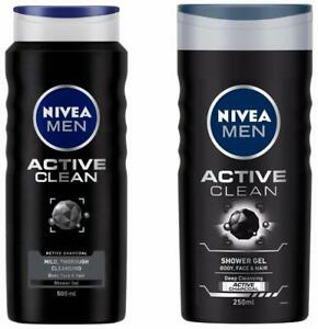 NIVEA Shower Gel, Active Clean Body Wash, Men,(500ML + 250ML) - Free Shipping