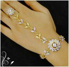 Indian Women Bridal Bracelet Attach With Ring Gold Plated Jewelry Zircon Wedding