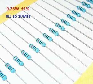 100PCS 1/4W 0.25W Metal Film Resistor ±1%- Full Range of Values (0Ω to 10MΩ)