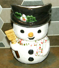 """Vintage Snowman Hand Painted Ceramic Christmas Planter 6"""" Tall Cute & Kitschy"""