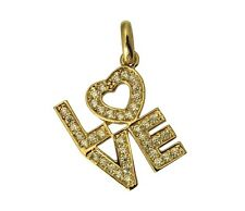 14K Real Yellow Gold LOVE My Heart Charm Pendant Cubic Zirconia