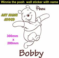 Personalised winnie the pooh bear girls boys bedroom wall art sticker  any name