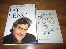 """Tonight Show Host JAY LENO signed """"LEADING WITH MY CHIN"""" Book w/ DRAWING Evelyn"""