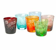 CRYSTAL TUMBLERS, DOUBLE OLD  FASHION SET OF 6, LEAD FREE,  POLS POTTEN