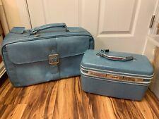 Samsonite Vintage Blue Toiletries Case & Suitcase Set VGUC Free Shipping