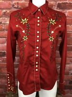 Vintage Women's Panhandle Slim Large Embroidered Pearl Snap Western Shirt -280