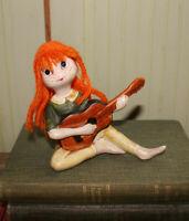 Vintage Figurine Girl w Yarn Hair Playing Guitar Japan Napco? Sticker 4 1/2 inch