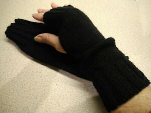 Hand Knitted Wrist Warmers, Fingerless Gloves, Mittens. Black