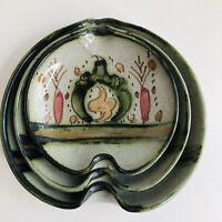 Moroccan Decorative Art Pottery Ceramic Nesting Dish Set Signed Lamnara Sale