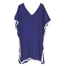 Women'S Short Plain Dark Blue Kaftan Tunic Top One Size Dress Beach Coverup M-3X