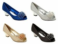 LADIES PEEP TOE GLITTERY DIAMANTE PARTY EVENING WEDDING SHOES 3-8 LSA-5322