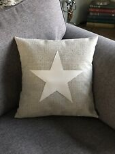 Cream Weave Fabric Cushion Cover White Leather Star Rustic Farmhouse Christmas
