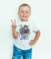 Paw patrol birthday T-shirt featuring chase/personalised/kids/toddler/baby/child