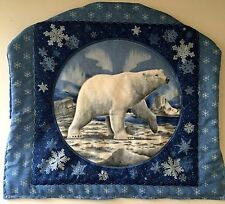 "Steering Wheel Cover Polar Bear 16-18"" Quilted Cozy Shade Handmade USA 1026"