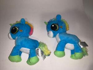 Fiesta Twinkle Bright Sparkle Blue Unicorn Plush Stuff - Lot Of 2