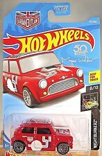 2018 Hot Wheels #311 NIGHTBURNERZ 8/10 MORRIS MINI Red w/Gray Lace Spoke Wheels