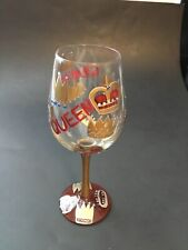 """Lolita WINE GLASS - """"Queen"""" - Red & Gold - Crowns - Recipe on Bottom"""