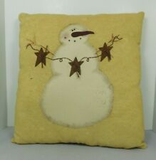 Pillow with a painted snowman on it holding garland - New by Honey & Me #C13384