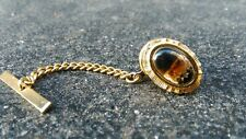 VINTAGE 1970 GOLD PLATED FAUX AGATE TIE PIN CLIP TACK TAC (588)