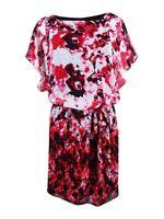 SL Fashions Women's Chiffon Floral-Print Blouson Dress