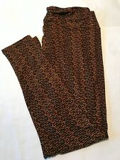 Lularoe TC Tall & Curvy CAT Leggings- NWOT! Black With Mustard / Orange Subtle