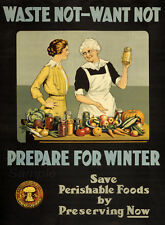 VINTAGE WASTE NOT WANT NOT FOOD WAR POSTER A4 PRINT