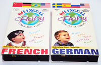 BILINGUAL BABY LANGUAGE VIDEO VHS Teach Your Child To Speak French German 2 Tape