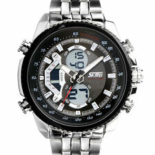 LED Herren Armbanduhr Edelstahl Sportuhr Analog-Digital Quarzuhr Wasserdicht Uhr