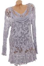 Maglie e camicie da donna a manica lunga grigio taglia taglia unica