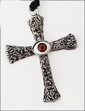 "LV 36"" BLACK LEATHER CHORD 3"" SILVER BROWN ACRYLIC EVIL EYE CROSS NECKLACE NEW"
