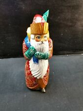 """12"""" Russian SANTA CHRISTMAS SCENE Wooden Hand Carved Hand Painted Father Frost"""