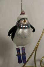 Vintage Blown Glass Penguin on Skis Christmas Ornament