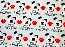 """I WOOF YOU"" DOG WITH RED PAW PRINTS ON GREY FLEECE MATERIAL 2 YDS 60 X 72"""