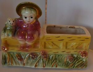 Vintage USA Pottery Dog Girl On Fence Planter Gold Trim