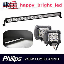 Philips 42inch 240W LED Driving Light Bar Spot Flood Lamp 4WD+2pcs 18W Spot Lamp