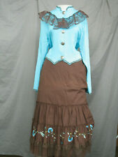 Victorian Dress Women's Edwardian Costume Civil War Prairie Western with Hat