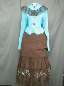 Victorian Dress Women's Edwardian Costume Civil War Prairie Western with Hat
