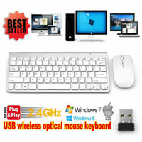 Wireless Keyboard and Cordless Mouse set 2.4G Silver Latptop Desktop Mac PC
