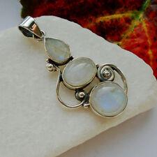 Mondstein blau weiß modern edel Design Anhänger Amulett 925 Sterling Silber neu