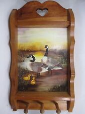 Wood Wall Curio Shelf Hat Key Ring Hangers w/ Canadian Goose Painting Goldstein