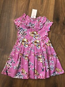 New Ted Baker Girls Pink Floral Short Sleeved Dress Size 2-3 Years
