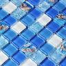 11pcs Sea Shell Blue Glass Mosaic Tile Bathroom Wall  Backsplash Kitchen