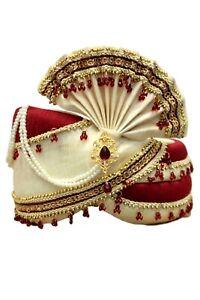 MPG7003 Maroon and Gold Indian Turban, Wedding Pagri, Safa, Bollywood Hat