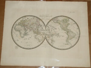 "Original 1836 World Hemispheres - Brue Atlas 26"" x 21"" Huge map - Antique"