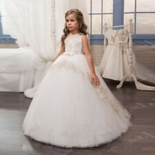 2020 Tulle Applique Flower Girl Dress Princess Pageant Prom Birthday Ball Gown