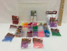 Bead Lot Multi Color Assortment w/ Clear Plastic Storage Box & Beading Needles
