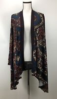 Liberty Love Women's Cardigan Sweater Open Front Asymmetrical Ribbed Knit Trim